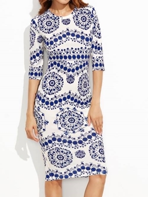 Picture of Blue And White Porcelain Print Pencil Dress