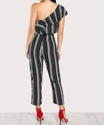 Picture of Asymmetrical Flounce Layered Shoulder Striped Jumpsuit