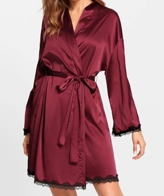 Picture of Contrast Lace Trim Printed Back Wrap Robe