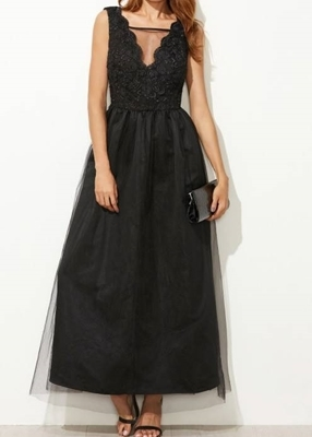 Picture of Mesh Overlay Scallop V Neck Embroidered long evening dress
