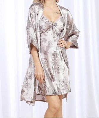 Picture of Satin Eastern Dragon Print Cami Dress With Robe