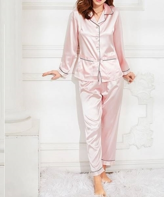 Picture of Contrast Binding Satin feel Shirt & Pants Pj Set
