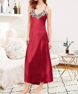 Picture of Glamour Contrast Crochet Trim Satin Cami Dress