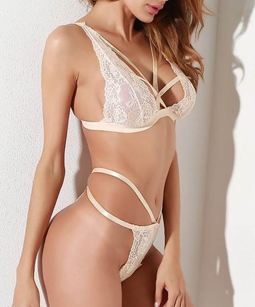 Picture of Apricot Scalloped Edge Lace Lingerie Set