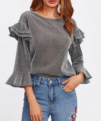 Picture of Flounce Tiered Ruffle Bell Sleeve Glitter Top