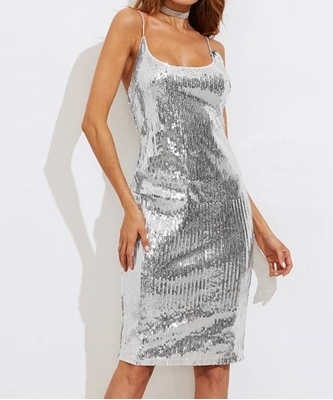 Picture of Backless Metallic Sequin Slit Back Cami Dress
