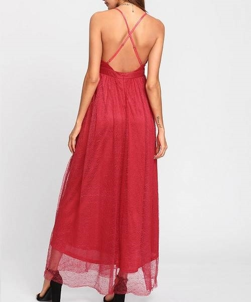 Picture of Plunge Neck Embroidered Mesh Cami Dress @ Zando