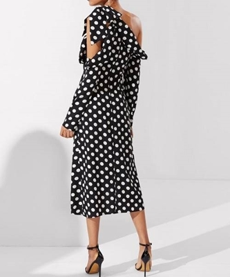 Picture of Foldover Knot Asymmetric Shoulder Polka Dot Dress