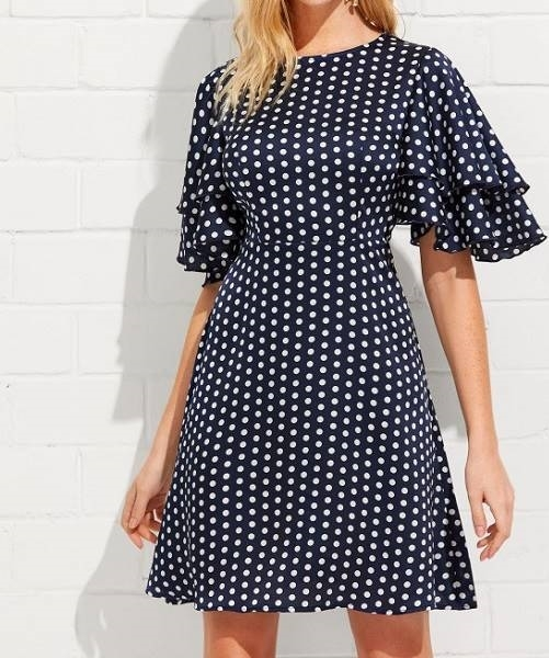 Picture of Navy Layered Sleeve Split Back Polka Dot Dress