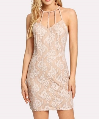 Picture of Beige  Apricot Caged Neck Lace Dress