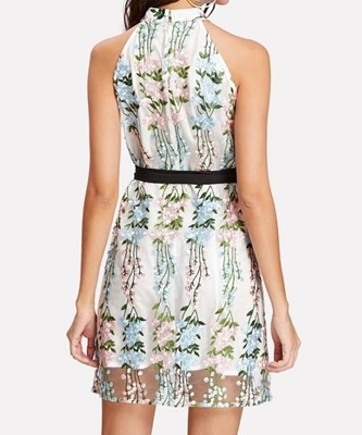 Picture of Floral Applique Mesh Overlay Halter Dress