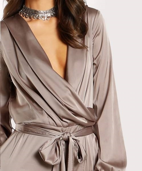 Picture of Shawl Collar Wrap And Tie Satin Jumpsuit