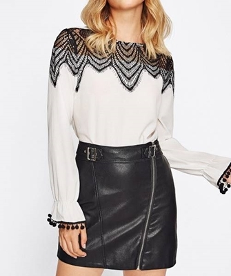 Picture of Contrast Lace York Pom Pom Bell Cuff Top