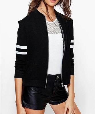 Picture of Baseball Varsity Jackets with Contrast Bands on Sleeves Thin - Black