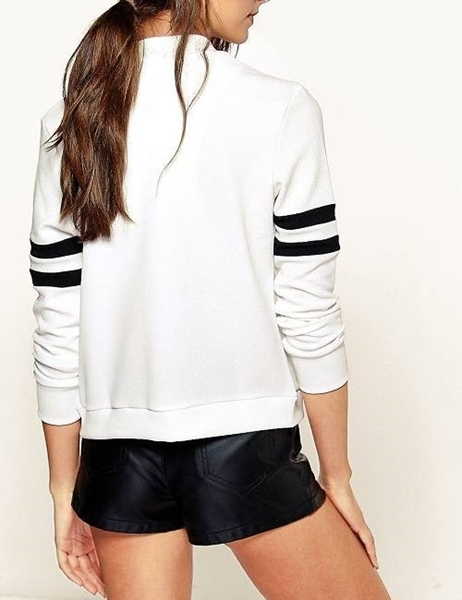 Picture of Baseball Varsity Jackets with Contrast Bands on Sleeves Thin - white