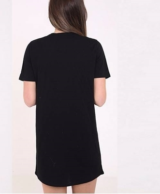 Picture of Rebel black printed long tshirt dress