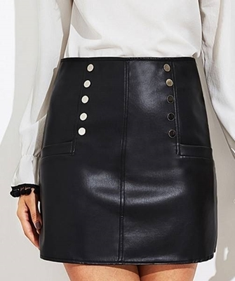 Picture of Faux Leather Zip Back Skirt