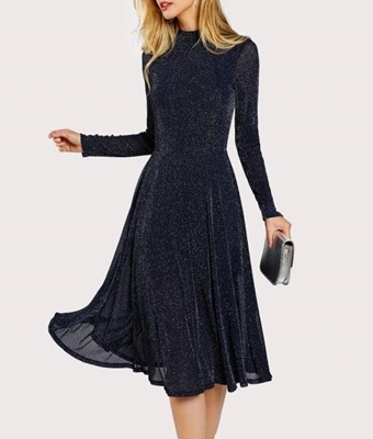 Picture of Mock Neck Glitter Fit & Flare Dress