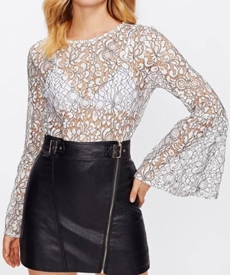 Picture of Buttoned Keyhole Back Fluted Sleeve Lace Top