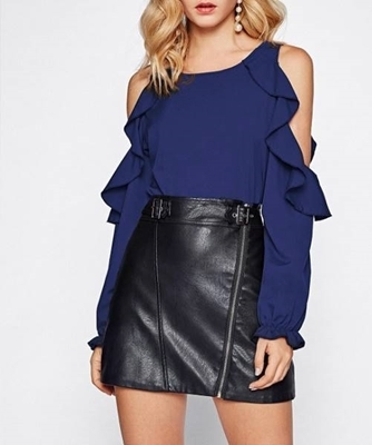 Picture of Open Shoulder Frill Trim Blouse