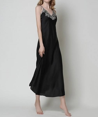 Picture of Contrast Crochet Trim Satin Cami Sleepwear Dress