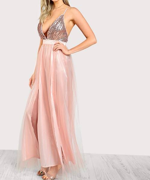 ... Picture of Plunging Sequin Bodice Mesh Overlay Dress ... b66487168