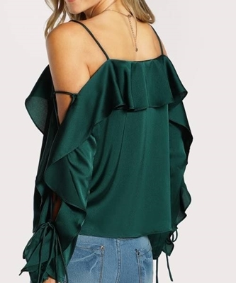 Picture of Lace Up Sleeve Flounce Trim Top