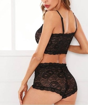 Picture of Floral Lace Bustier Top And Shorts  Set