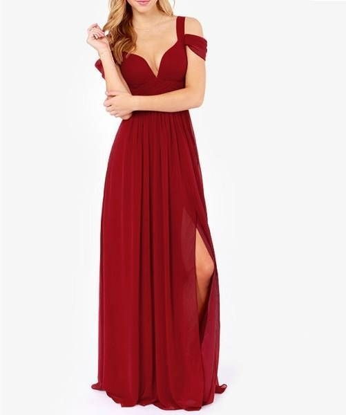 Picture of Wine Red Off The Shoulder Maxi Dress