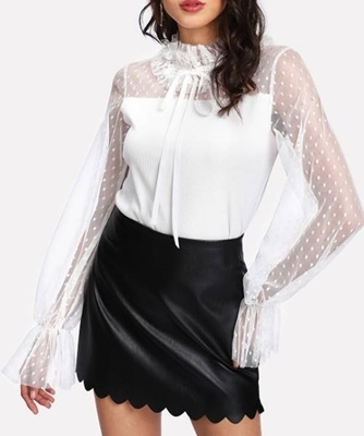 Picture of Dot Mesh Yoke Frill Detail Blouse