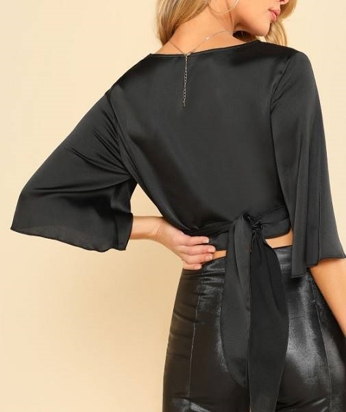 Picture of Black Cross Belted Crop Top