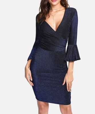 Picture of Trumpet Sleeve Glitter Wrap Dress