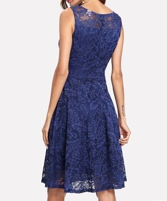 Picture of Navy Lace Overlay Skater Cocktail Dress