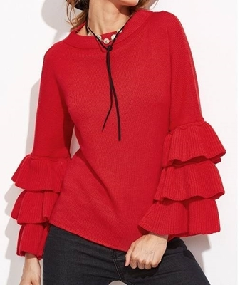 Picture of Red Layered Bell Sleeve Sweater