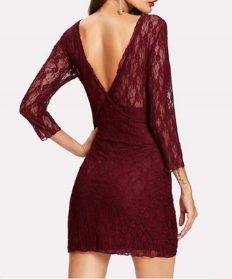 Picture of Lace double  v neck cocktail dress