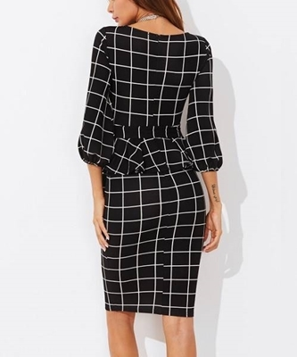 Picture of Grid Tie Waist Peplum Dress