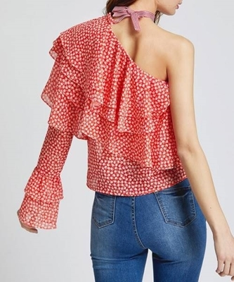 Picture of Layered One Shoulder Dot Print Ruffle Top