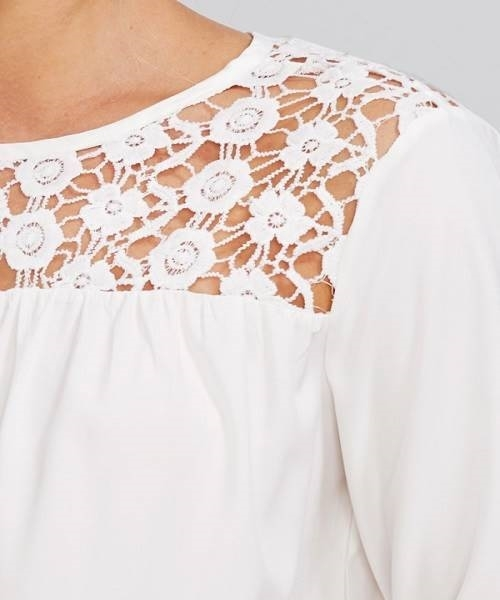 Picture of Lace Yoke Cut Out Insert Sleeve Blouse