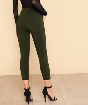 Picture of Army Green Zip Front Fly Skinny Pants