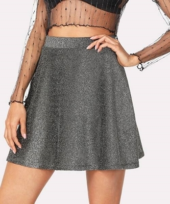 Picture of Silver glitter flare skirt