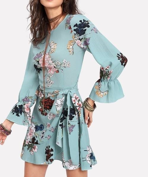 Picture of Floral Trumpet Sleeve Ruffled Overlap Dress