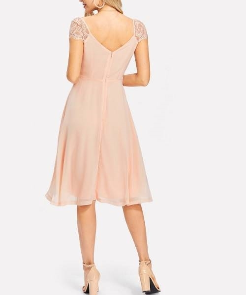Picture of Apricot Contrast Lace Pleated Detail Dress