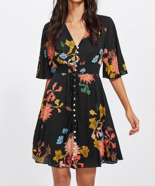 Picture of Button Front Tassel Trumpet Sleeve Dress