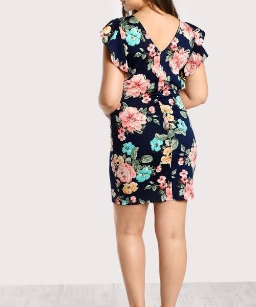 Picture of Flower Flutter Sleeve Print Pencil Dress