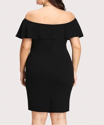 Picture of Black Sweetheart Neck Pencil Dress