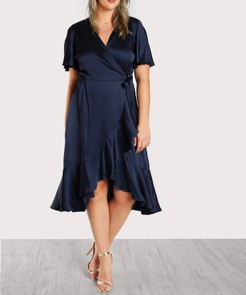 Picture of Self Tie Satin Wrap Dress