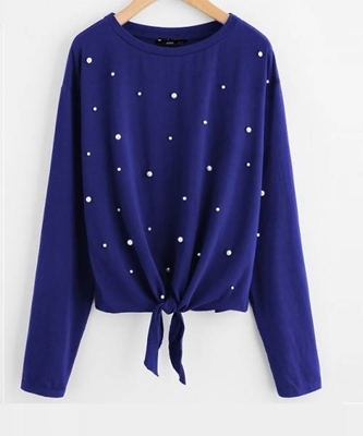 Picture of Pearl Beaded Knot Front Tee Blue