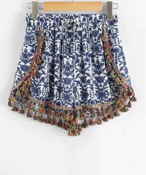 Picture of Blue Paisley Tassel Shorts