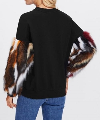 Picture of Faux Fur Contrast Sleeve Sweatshirt