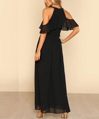 Picture of Halter Neck Flounce Cold Beaded Shoulder Occasion Dress